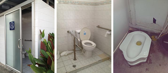 (left) accessible restroom – highway rest stop, (middle) accessible toilet in neurological hospital, (right) typical squat toilet in Asia